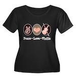 Peace Love Violin Women's Plus Size Scoop Neck Dar