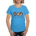 Peace Love Violin Women's Dark T-Shirt