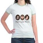 Peace Love Violin Jr. Ringer T-Shirt
