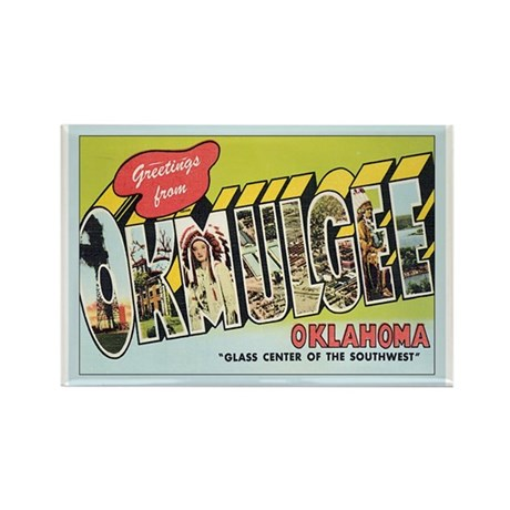 Okmulgee OK Postcard Rectangle Magnet