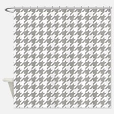 Grey, Fog: Houndstooth Checkered Pa Shower Curtain
