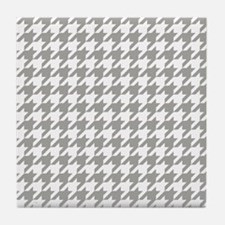 Grey, Fog: Houndstooth Checkered Patt Tile Coaster