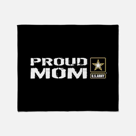 U.S. Army: Proud Mom (Black) Throw Blanket