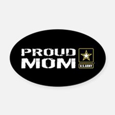 U.S. Army: Proud Mom (Black) Oval Car Magnet