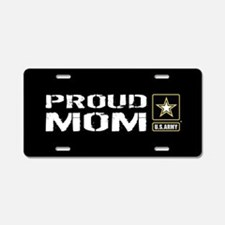 U.S. Army: Proud Mom (Black Aluminum License Plate