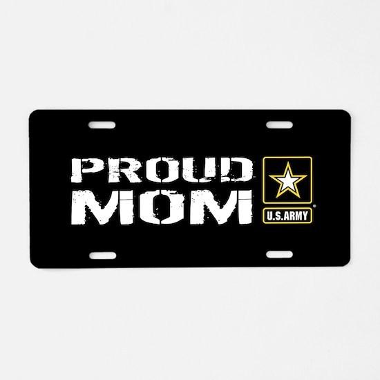 U.S. Army: Proud Mom (Black Aluminum License Plate