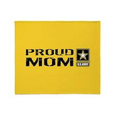 U.S. Army: Proud Mom (Black & Gold) Throw Blanket