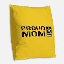 U.S. Army: Proud Mom (Gold) Burlap Throw Pillow