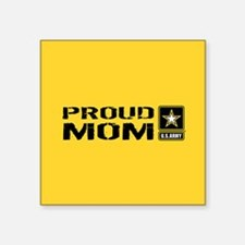 "U.S. Army: Proud Mom (Gold) Square Sticker 3"" x 3"""