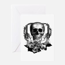 Pistols, death and roses Greeting Card