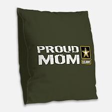 U.S. Army: Proud Mom (Military Burlap Throw Pillow