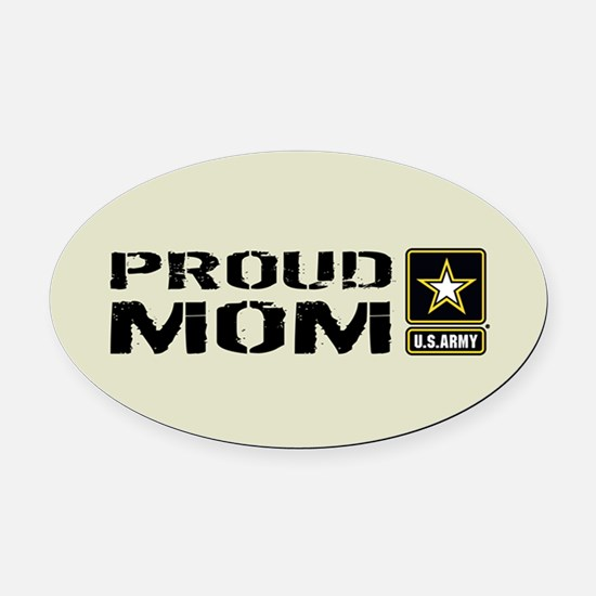 U.S. Army: Proud Mom (Sand) Oval Car Magnet