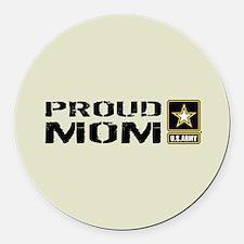 U.S. Army: Proud Mom (Sand) Round Car Magnet