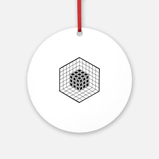 Hexagon cube Round Ornament