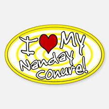 Hypno I Love My Nanday Conure Oval Sticker Ylw