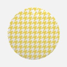 Yellow, Canary: Houndstooth Checker Round Ornament