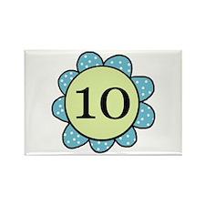 10 blue/green flower Rectangle Magnet