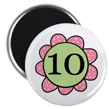 10 pink/green flower Magnet