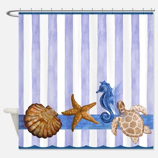 Nautical Sea Creatures Shower Curtain