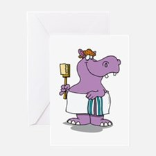 Hippo Bath Time Greeting Cards