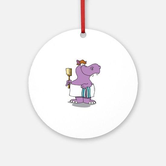 Hippo Bath Time Round Ornament
