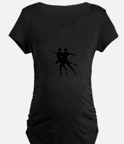 Silhouette of dancing couple Maternity T-Shirt