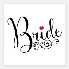 "Elegant Bride Square Car Magnet 3"" x 3"""