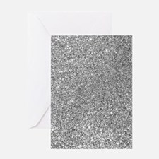 Silver Glitter Photo Greeting Cards