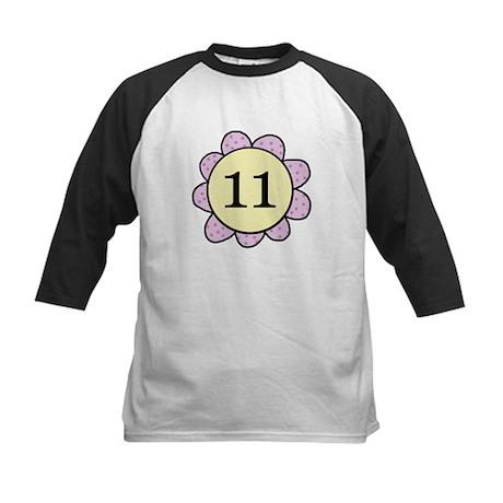 Eleven purple/yellow flower Kids Baseball Jersey