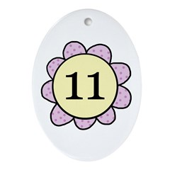 Eleven purple/yellow flower Oval Ornament