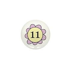 Eleven purple/yellow flower Mini Button