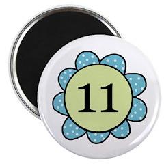 Eleven Blue/Green Flower Magnet