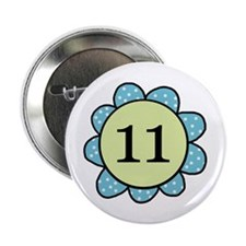 Eleven Blue/Green Flower Button