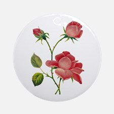 FAUX EMBROIDERED ROSES Ornament (Round)