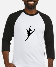 Silhouette of gymnastic girl Baseball Jersey