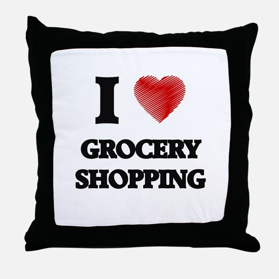 I love Grocery Shopping Throw Pillow