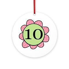 Ten pink/green flower Ornament (Round)