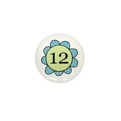 Twelve Years blue/green flower Mini Button