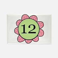 Twelve Years Pink/Green Flower Rectangle Magnet