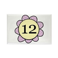 Twelve Years Purple/yellow flower Rectangle Magnet