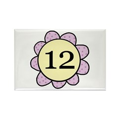 Twelve Years Purple/yellow flower Rectangle Magnet