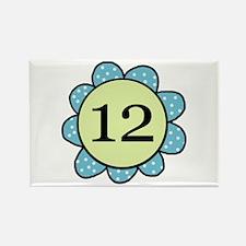 Twelve blue/green flower Years Rectangle Magnet