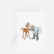 Veterinarian doctor with horse Greeting Cards