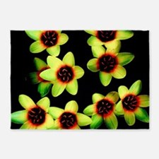 Yellow Flowers on a black Background 5'x7'Area Rug