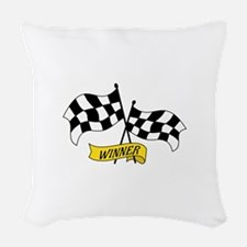 Winner Flags Woven Throw Pillow