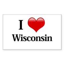 I Love Wisconsin Rectangle Decal