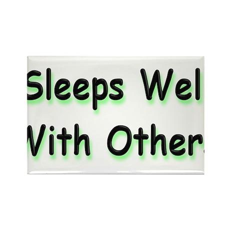 Sleeps Well Rectangle Magnet (100 pack)