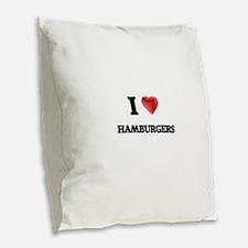 I love Hamburgers Burlap Throw Pillow