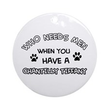 Chantilly Tiffany Cat Designs Round Ornament