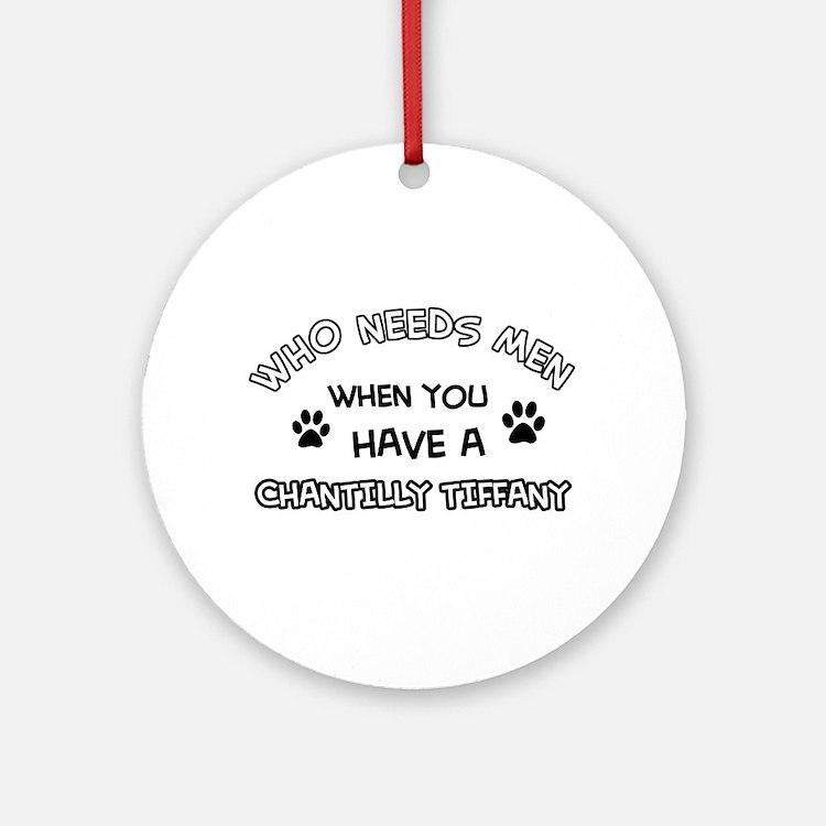 Chantilly Tiffany Cat Designs Round Ornament